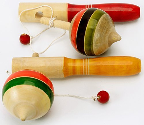 Pair 2Pcs Handmade Lacquer Painted Wooden Spinning Tops Toys Vintage India Craft by AzKrafts
