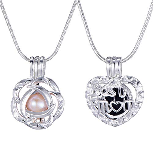 2 Set Sliver Plated Mom Flower Pearl Bead Cages Pendant Necklace Oyster Freshwater Pearl Necklace for Mother's - Pearl Set Disney
