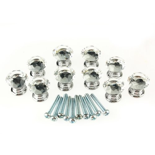 10 Pcs 20mm Glass Cabinet Knobs Drawer Pull Furniture Handle - 2