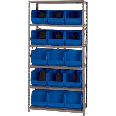 Quantum Storage Systems QSBU-260BL Giant Open Hopper Steel Shelving System, 18'' D x 36'' W x 75'' H, with 6 Shelves and 15 QUS260 Bins, Blue