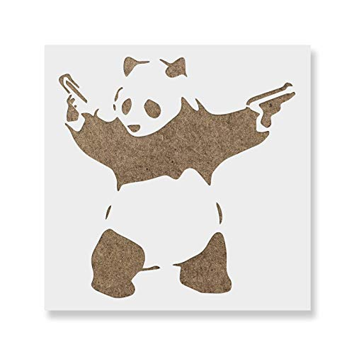 Panda with Guns Banksy Stencil for Walls and Crafts - Reusable Stencils of Panda with Guns by Banksy for Painting in Small & Large Sizes - Made in USA