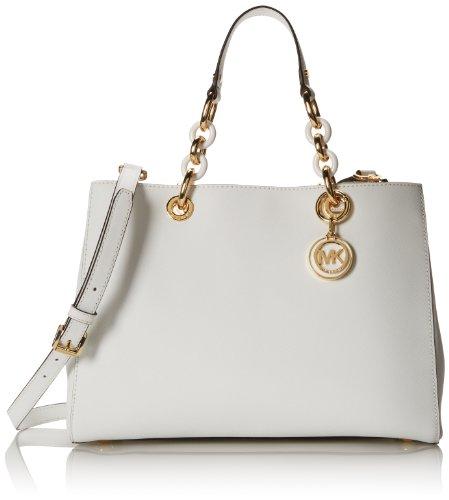 Michael Kors Cynthia Medium Leather Satchel (Optic White)