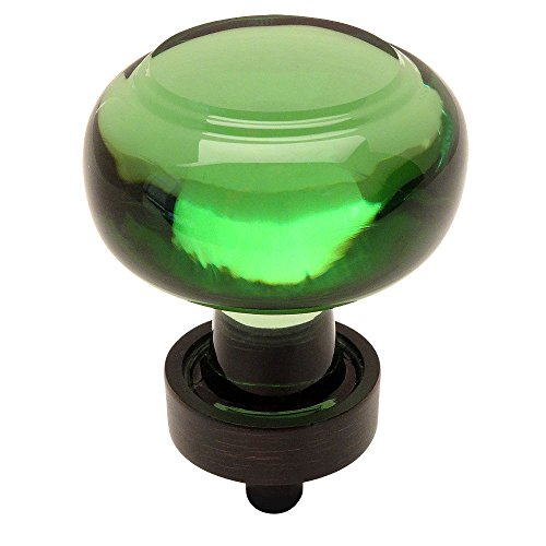 - Cosmas 6355ORB-EM Oil Rubbed Bronze Cabinet Hardware Round Knob with Emerald Green Glass - 1-3/8
