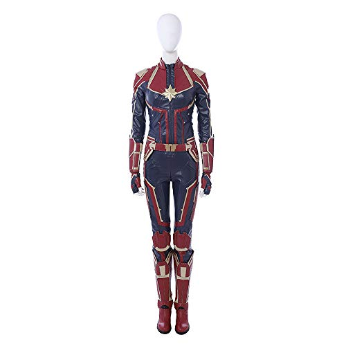 Captain Marvel Carol Danvers Cosplay Costume Leather Full Suit Custom Made Women