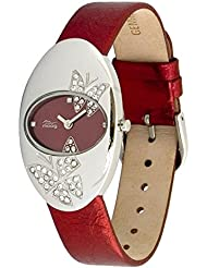 Moog Paris Butterflies Womens Watch with Red Dial, Red Genuine Leather Strap & Swarovski Elements - M44292F-002