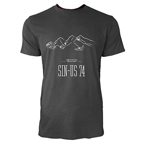 SINUS ART® Handgezeichnete Berglandschaft Herren T-Shirts in Smoke Fun Shirt mit tollen Aufdruck