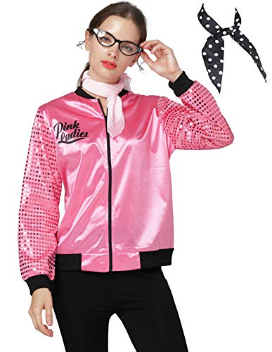 Women 1950s Fish Scale Sequins Pink Ladies Jacket
