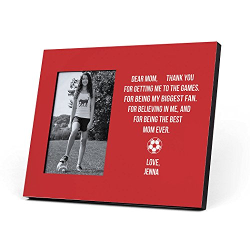 (ChalkTalkSPORTS Personalized Soccer Photo Frame   Dear Mom Heart Picture Frame   RED)