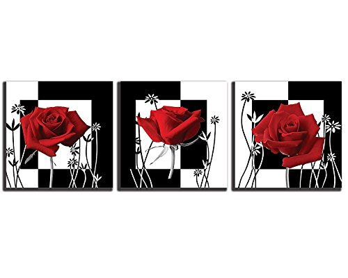 - NAN Wind Canvas Print 3 Pcs Black and White Red Rose Canvas Art Abstract Wall Art Decorations Flower Picture on Canvas for Home Decor Stretched and Framed 12X12inches