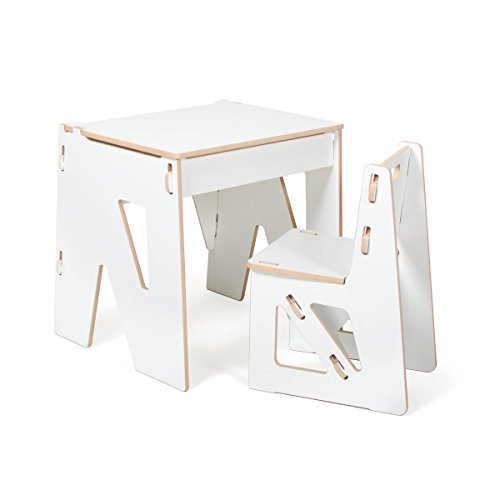 White Modern Kids Desk and Chair with Storage, American Made by Sprout