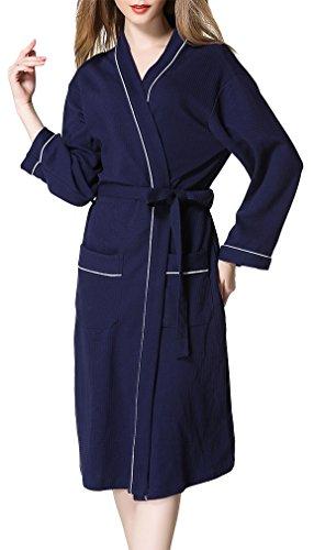 FLYCHEN 100% Baumwolle Waffelpique Bademantel für Damen Spa Sauna ...
