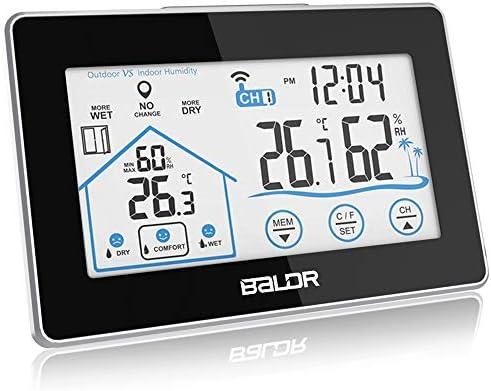 Digital Thermometer Hygrometer Innen und Au/ßen Raumthermometer Hydrometer Feuchtigkeit mit Wettervorhersage Wecker und Nachtlicht Uhrzeitanzeige Schwarz-1 BALDR Wetterstation Funk mit Au/ßensensor