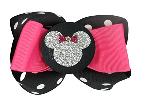 Hot Pink and Silver Glitter Minnie Mouse Hair bow clip or ponytail holder by Bow Flip Flops