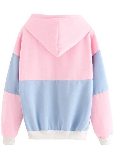 SweatyRocks Womens Long Sleeve Colorblock Pullover Fleece Hoodie Sweatshirt Tops