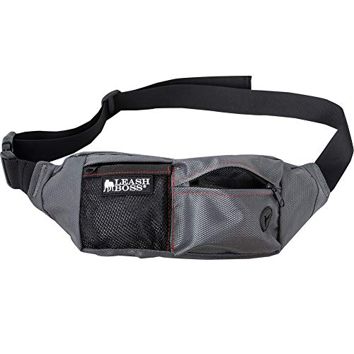 Leashboss PackUp Pouch Dog Treat Training Waist Belt, Storage Fanny Pack, and Poop Bag Dispenser (Grey)