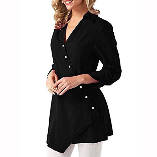 Lqqstore V Camicette Sexy A Nero donna Lunga Sciolto Manica Scollo Autumn Casuale Camicia Maglietta Lunga Moda Blusa 4rwz4