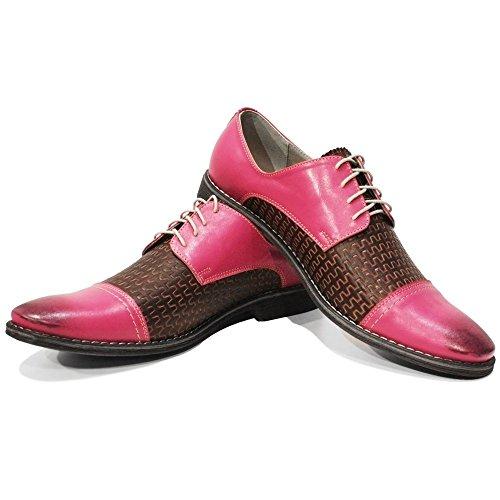 PeppeShoes Modello Pinqu - Handmade Italiennes Cuir Pour des Hommes Rose Chaussures Oxfords - Cuir de Vachette Cuir Gaufré - Lacer