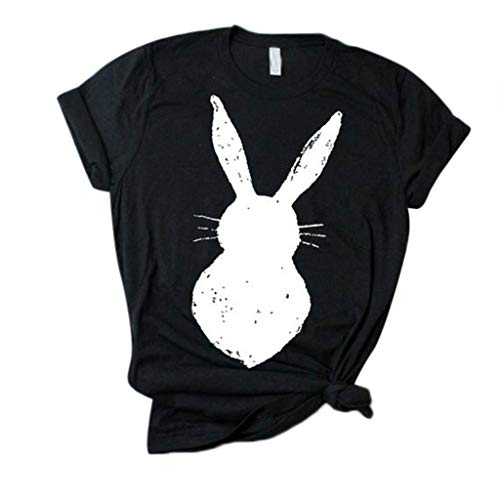 Cenglings Women's Loose Short-Sleeved Cute Rabbit Print T-Shirt Casual O-Neck Top Bandage Bowknot Blouse Black