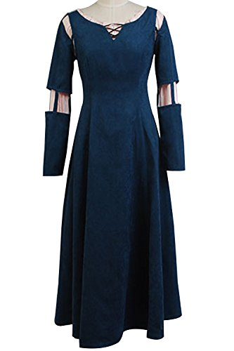 SIDNOR Brave Princess Merida Dress Cosplay Costume Dress Gown Outfit -