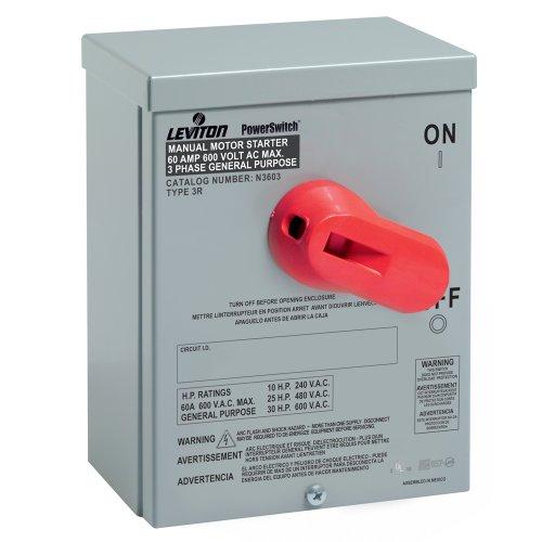Leviton N36NC Type 3R Enclosure for 60 Amp Motor Starting Switch, Steel, Gray - Starting Switch Motor