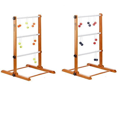 Uber Games Premium Double Ladder Toss with Navy, Red, Orange and Yellow (Double Ladder Ball Game)