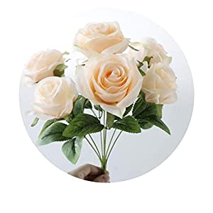 7 Heads/Bunch Silk French Rose Artificial Flower Bouquet Wedding Bridal Flower Home Party Decorations Table Accessory,Champagne 119