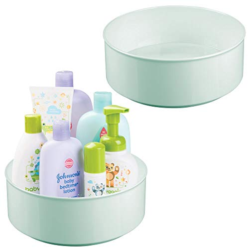 mDesign Plastic Spinning Lazy Susan Turntable Storage Organizer for Kids, Baby/Toddler - Place in Kitchen Cabinet, Pantry, Refrigerator, Countertop - BPA Free/Food Safe - 9