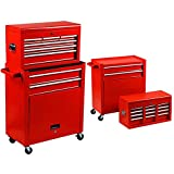 Homestock Portable Tool Storage Box 7-Drawer Rolling Tool Chest Removable Tool Storage Cabinet with Sliding Drawers Keyed Locking System Toolbox Organizer (Red)
