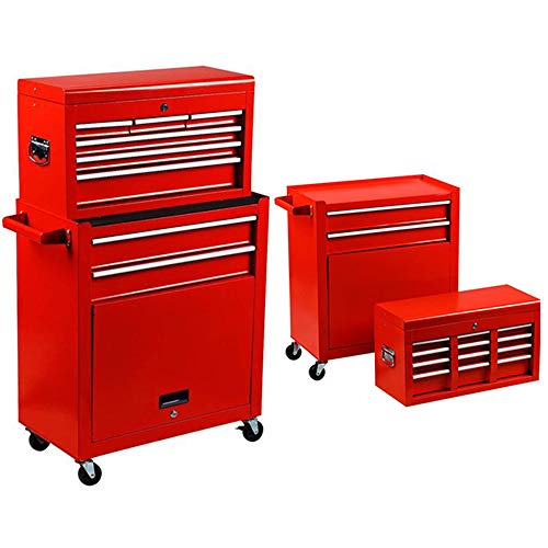 Homestock Portable Tool Storage Box 7-Drawer Rolling Tool Chest Removable Tool Storage Cabinet with Sliding Drawers Keyed Locking System Toolbox Organizer (Red) by Homestock (Image #6)