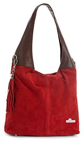 - LIATALIA Womens Girls Genuine Italian Suede and Soft Leather Hobo Shopper Shoulder Tote Handbag - AGNES [Red - Brown Trim]