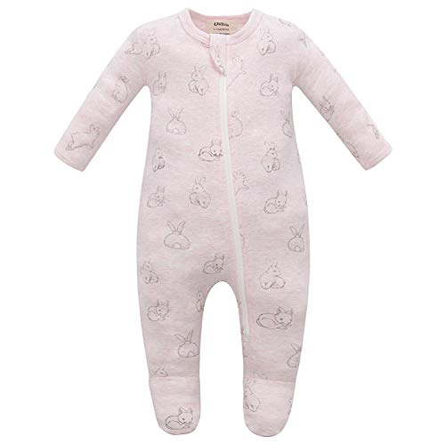 Owlivia Organic Cotton Baby Boy Girl Zip Front Sleep 'N Play, Footed Sleeper, Long Sleeve (Size 0-18 Month)(12-18Months,Pink Rabbit)