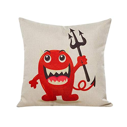 HomeMals Trick or Treat Halloween Cotton Linen Decorative Pillowcases for Couch Patio Set]()