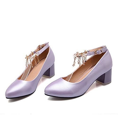 Allhqfashion Womens Pointed Closed Toe Kitten Hakken Gesp Solid Pumps-shoes Purple