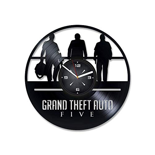 Price comparison product image Grand Theft Auto Five Vinyl Record Wall Clock. Decor for Bedroom,  Living Room,  Kids Room. Gift for Boyfriend or Husband. Christmas,  Birthday,  Holiday,  Housewarming Present.