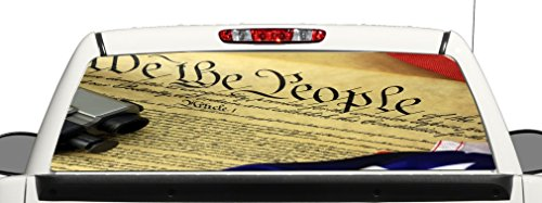 (avgrafx Truck SUV Gun Rights Constitution Rear Window Graphic Decal Perforated Vinyl Wrap)