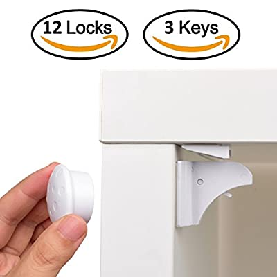 Magnetic Child Safety Cabinet Locks - 12 Lock + 3 Key for Baby Proofing Cabinets, Drawers and Locking Cupboard, Easy Install for Toddler and Childproof with Adhesive Latch, No Tools or Drill