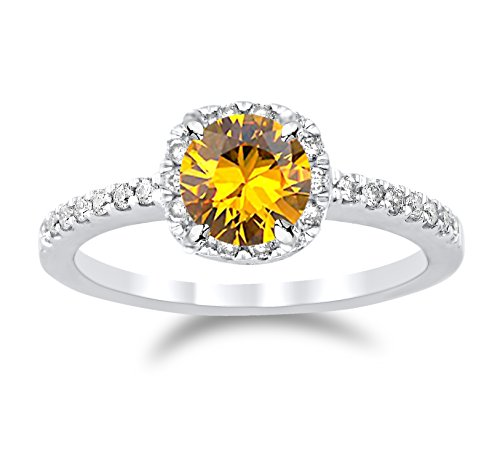 14K White Gold Classic Cushion Halo Diamond Engagement Ring with a 1 Carat Citrine Heirloom Quality Center