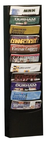 Durham 402-08 Black Cold Rolled Steel 11 Contour Pocket Vertical Literature Rack, 9-3/4