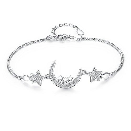 Ever Faith - Dans les Bras de Lune - Bracelet Argent 925 Zircone Bling Lune et Etoiles Plaqué Rhodium N07404-1