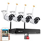 Forcovr 4CH 1080P HD NVR Wireless Surveillance Camera System 4PCS Indoor and Outdoor 1.3 Megapixel Bullet Wireless Security Cameras with 1TB HDD, Smart Motion Detection, Local/Remote Recording …