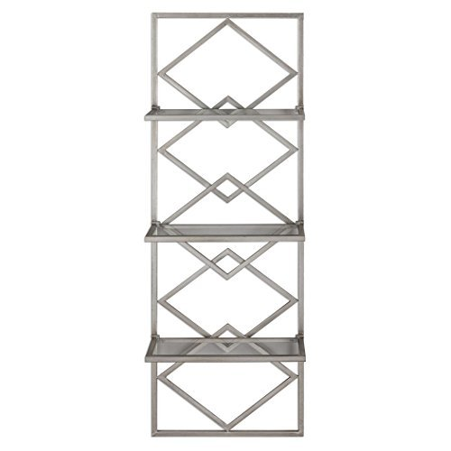 (Art Deco Style Silver Wall Shelf Antiqued Contemporary | Three Metallic Hanging Open Diamond Shelves)