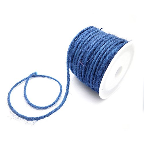 TOOGOO(R) DIY 2mm Wrap Gift Link Paper Tag Jute Burlap Ribbon Twine Rope Cord String Royal Blue (Royal Cord Tag)
