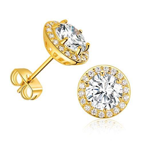 DwearBeauty 14K Yellow Gold Plated Cubic Zirconia Stud Earrings