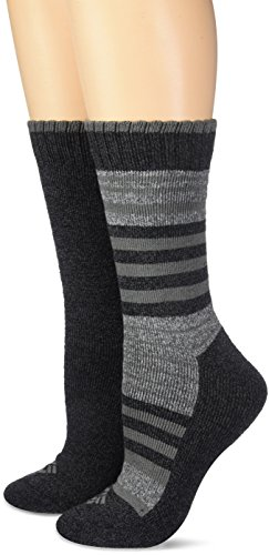 Columbia Women's Moisture Control 2 Pack Stripe, Charcoal, 9-11(Shoe Size 4-10)