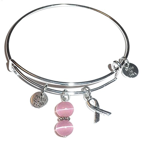 Cancer Awareness  Hope For The Cure  Expandable Wire Bangle Bracelet  Comes In A Gift Box   Breast Cancer  Pink