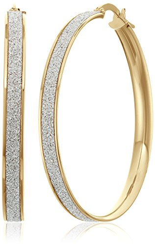 14k Yellow Gold Italian 35 mm Hoop Earrings with Pave Style Glitter Hoop Earrings by Amazon Collection