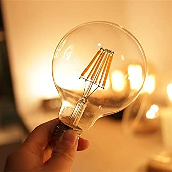 (4 Pack) Led Vintage Edison Bulb G30/G95 6W LED Light Filament Bulb, Large Globe Bulb, E26 Base, Warm White 2700K, 60Watts Equivalent, 110-120VAC, ...