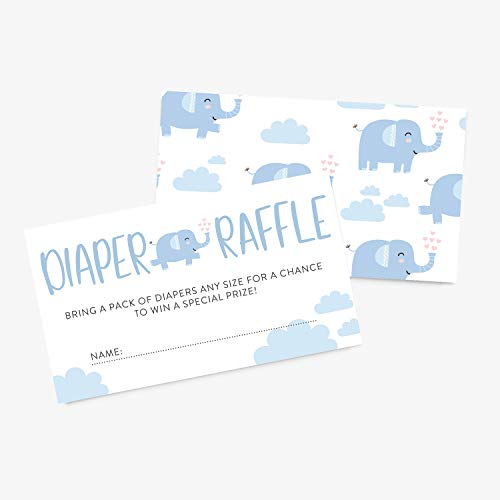 25 Diaper Raffle Ticket Insert Card for Blue Elephant Boy Baby Shower Invitation, Baby Shower Prize Games, Bring Diapers Insert