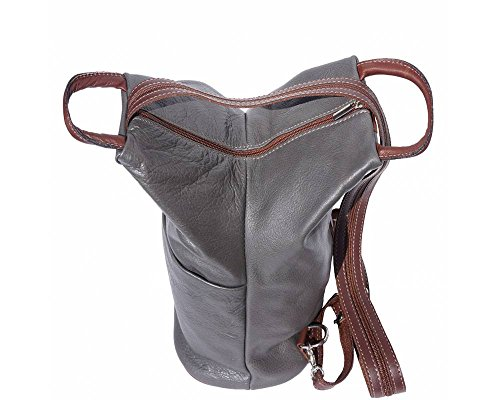 Florence Leather 207 - Bolso mochila  para mujer negro, Bordeaux & Tan (multicolor) - 207 Grey & Brown