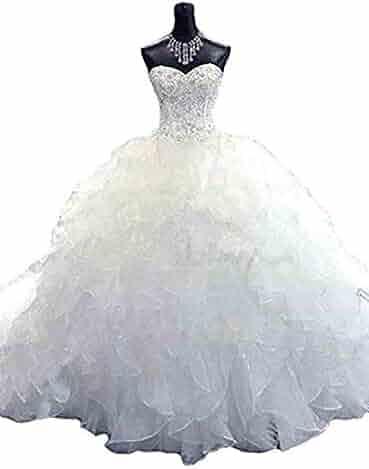 2b81e9e4826 Bridal Mall Women s Organza Sweetheart Neckline Cascading Ruched Wedding  Dress